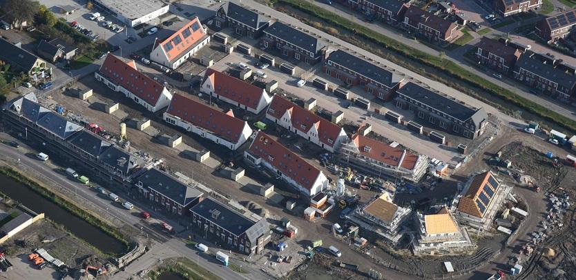 Luchtfoto opgeleverde woningen